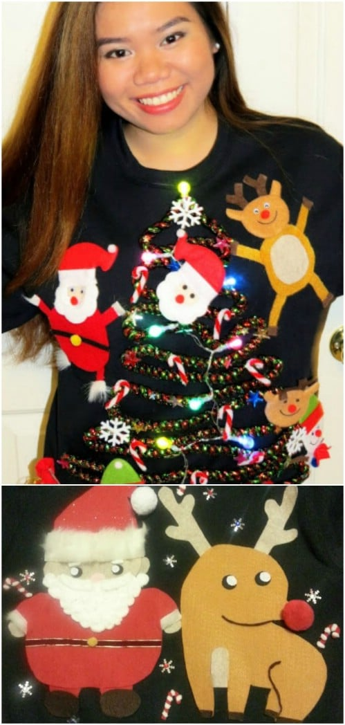 easy 10 ugly christmas sweater - How To Decorate A Ugly Christmas Sweater