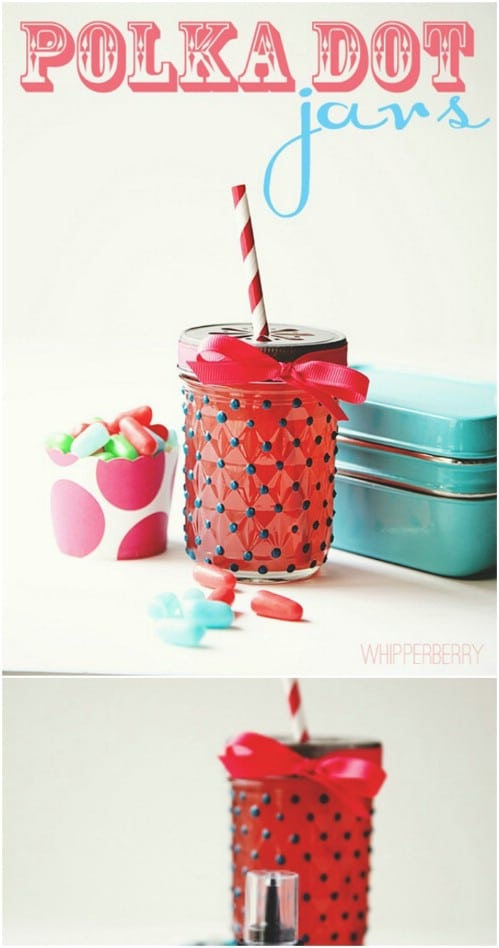 Adorable DIY Polka Dotted Jars