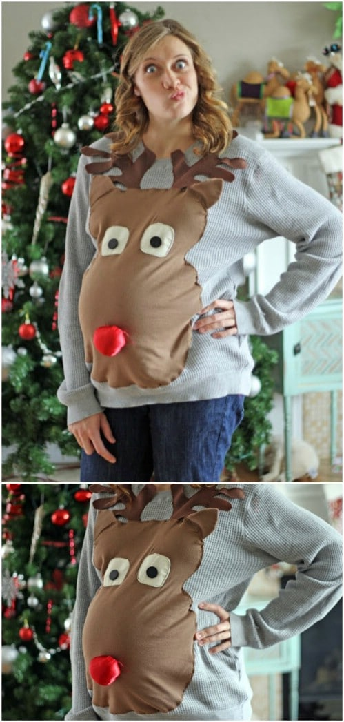 Maternity Reindeer Head Sweater
