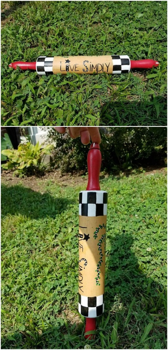 Repurposed Rolling Pin Garden Décor