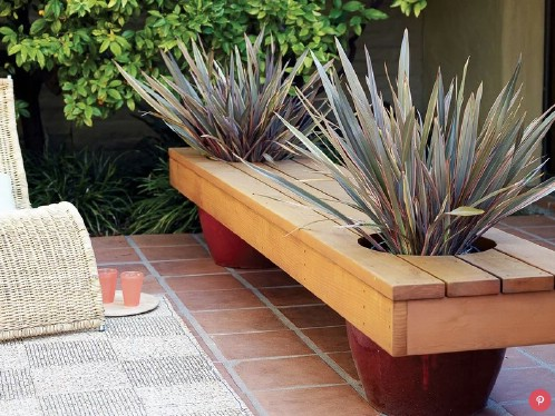Modern DIY Planter Bench
