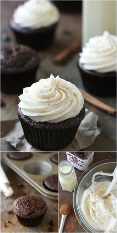 Chocolate Spice Cupcakes With Eggnog Buttercream Frosting