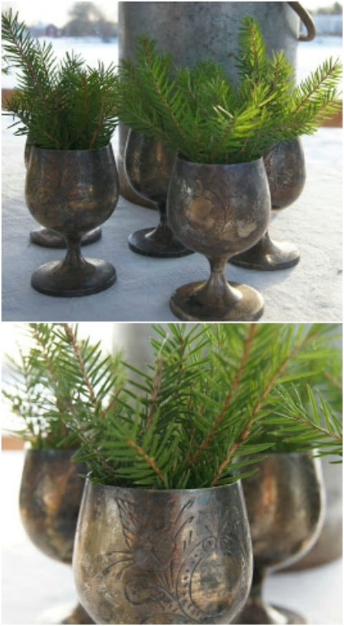 Decorative Holiday Goblets With Evergreen Sprigs