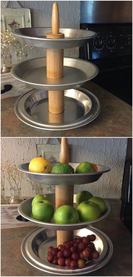 Repurposed Rolling Pin Tiered Tray