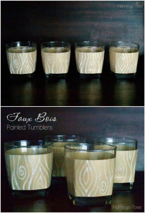 DIY Faux Bois Painted Drinking Glasses
