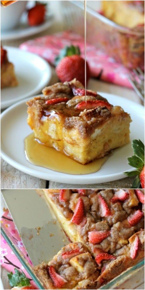 Baked Strawberry Eggnog French Toast