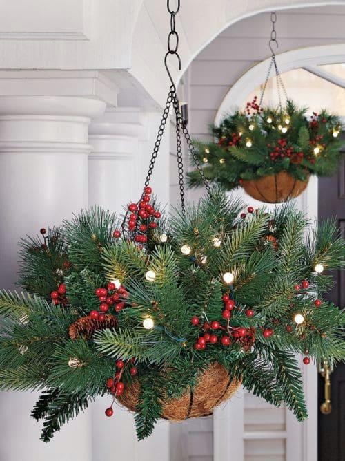 Lighted Hanging Evergreen Basket