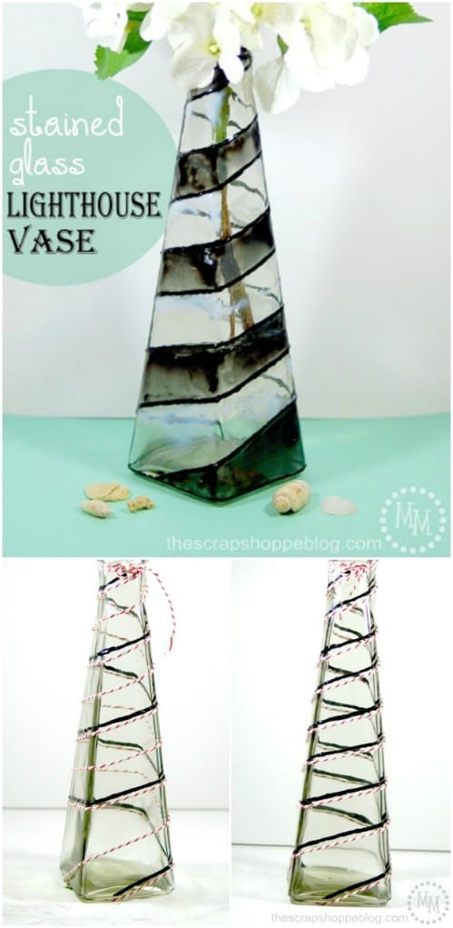 DIY Stained Glass Lighthouse Inspired Vase