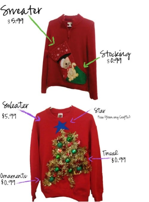 Tacky DIY Christmas Stocking Sweater