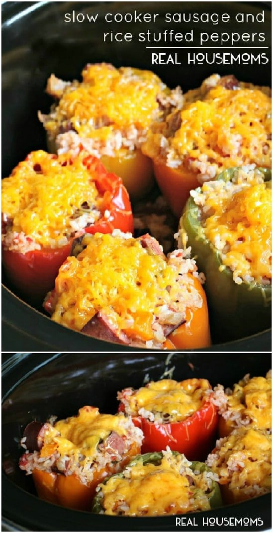Slow Cooker Stuffed Peppers With Sausage And Rice