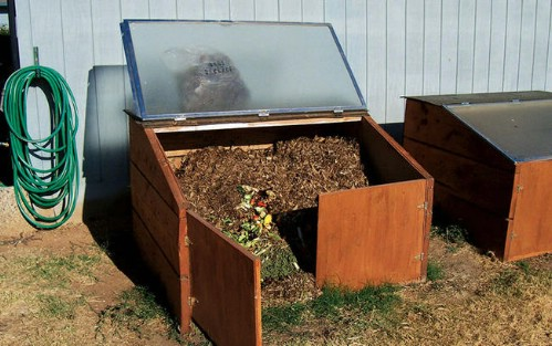 Upcycled Shower Door Compost Bin