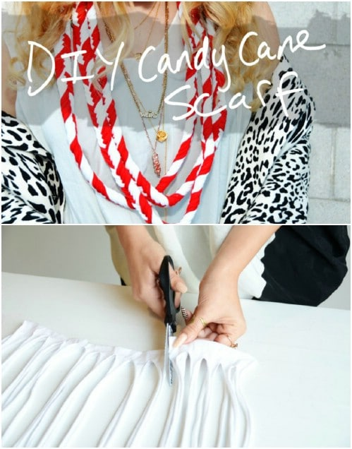 Festive Braided Candy Cane Scarf