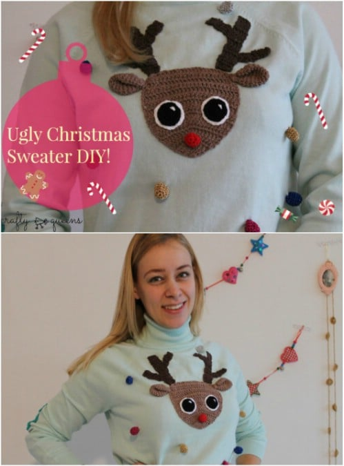 Adorable Reindeer Face Sweater