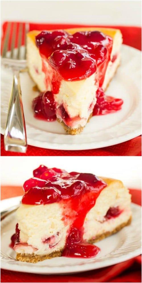 Homemade Cranberry Eggnog Cheesecake
