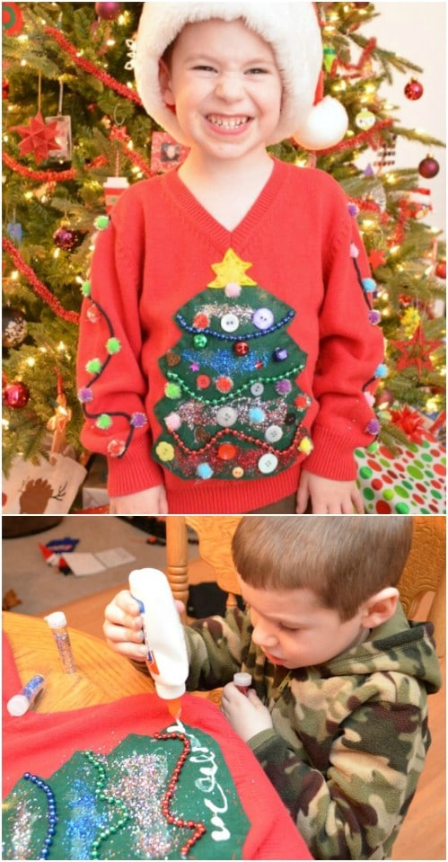 cute kids diy ugly christmas sweater - How To Decorate A Ugly Christmas Sweater