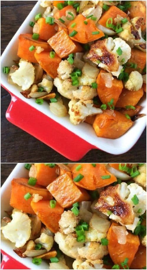 Roasted Sweet Potatoes With Cauliflower And Onions