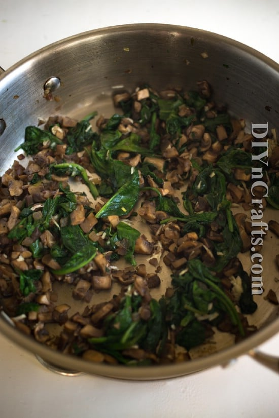 Cremini mushrooms, garlic and spinach complement the flavor of the potatoes