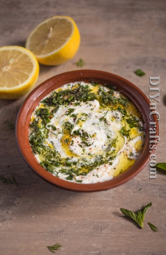 Sour cream, dill, mint leaves and lemon zest make the most amazing dressing!