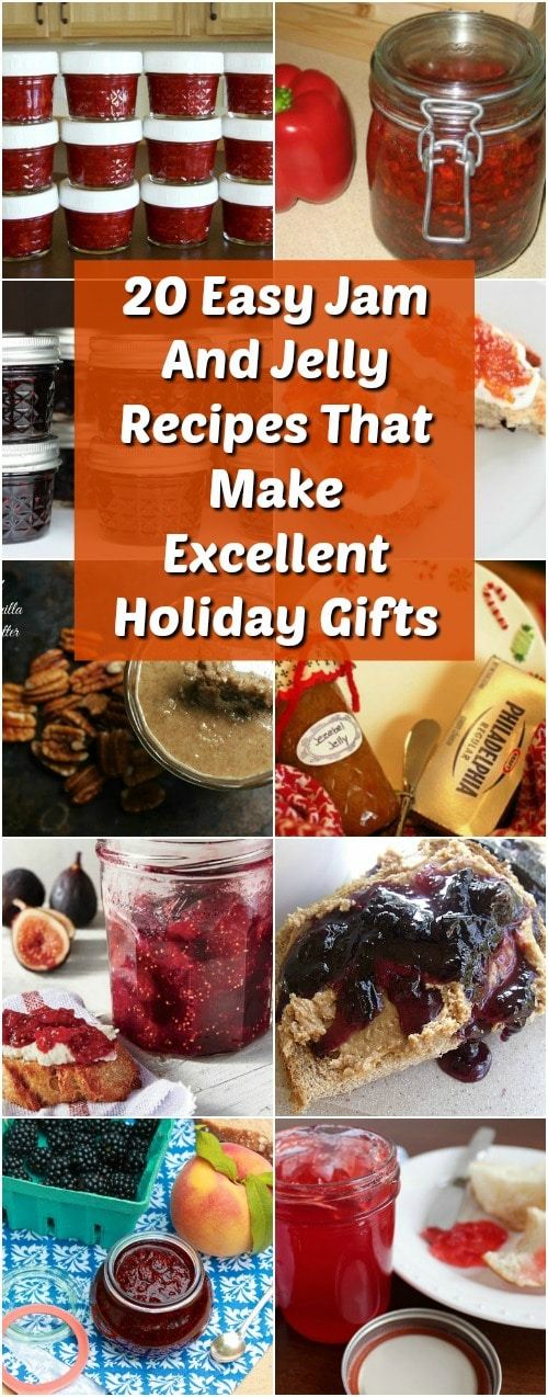 20 Easy Jam And Jelly Recipes That Make Excellent Holiday Gifts - I really love giving – and receiving – homemade Christmas gifts. There is just nothing better than a delicious homemade brownie or even a cookie in a jar gift. If you love making your own holiday gifts – or you're just really trying to cut down on the cost of your Christmas gifts this year – these 20 easy to make jams and jellies recipes are perfect. #jam #jelly #gifts #homemade #yummy #diy #recipes