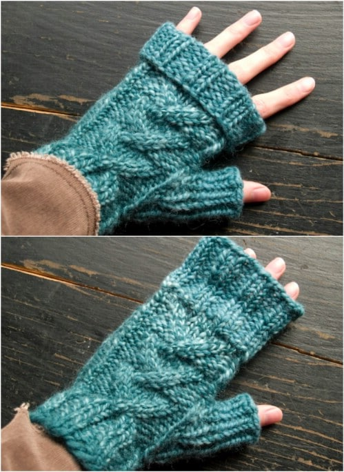 Crossed Cable Fingerless Mittens