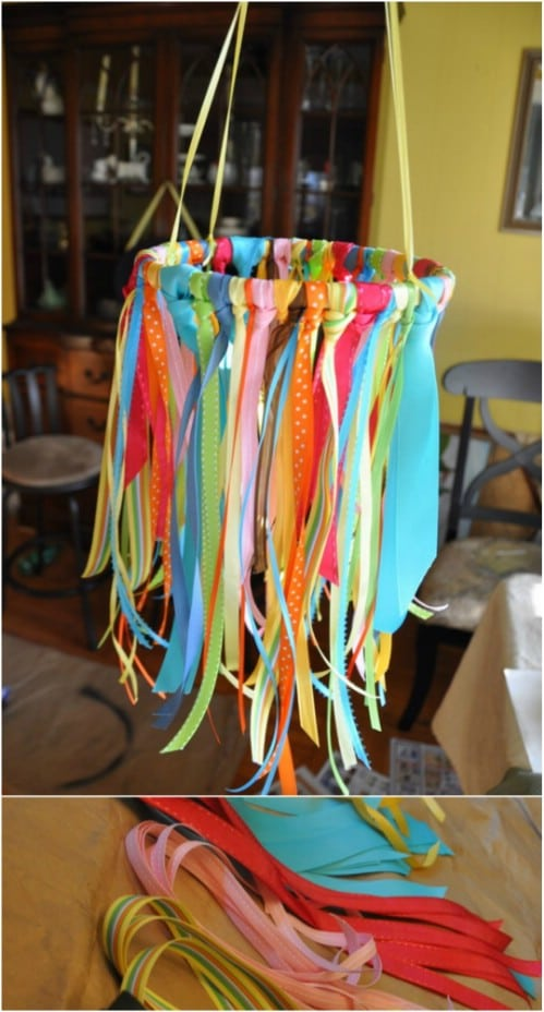 DIY Colorful Ribbon Mobile