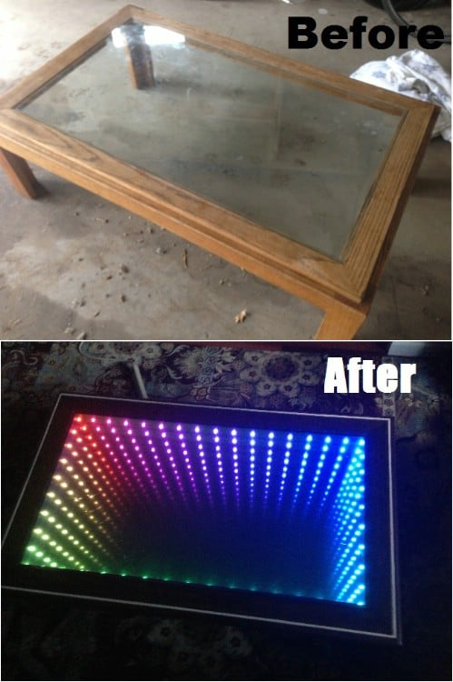 Upcycled Glass Top Infinity Table