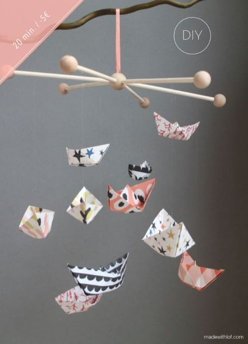 Adorable DIY Paper Boat Mobile