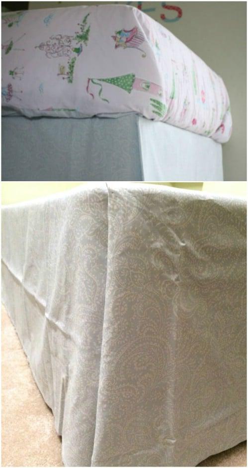 DIY No Sew Bed Skirt