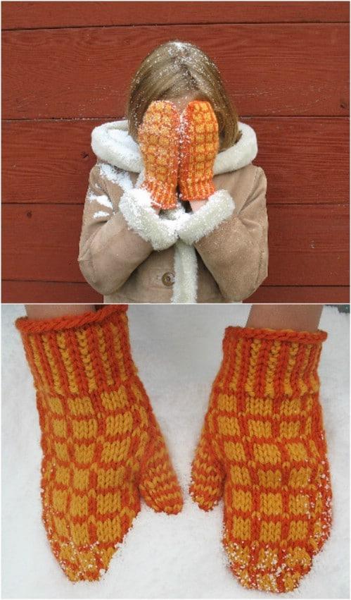 Matrix Knit Mittens