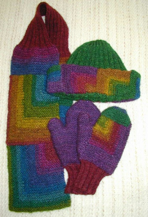 Colorful Knit Mitered Mittens