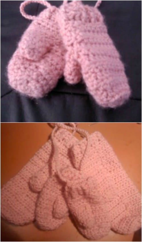 Mommy And Me Crocheted Mittens Set