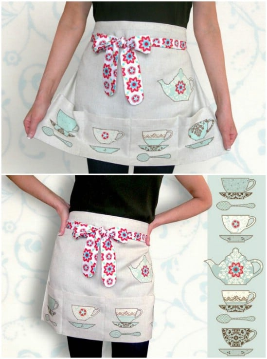 Tea Time Apron With Cup And Saucer Appliques