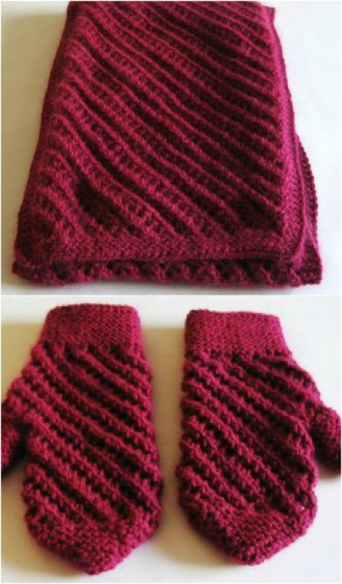 Gorgeous Raspberry Knit Mittens
