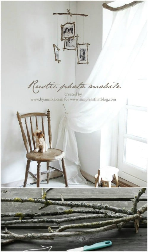 DIY Rustic Photo Crib Mobile