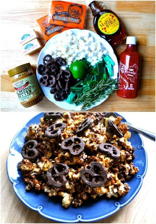 Almond Butter And Chocolate Pretzel Popcorn
