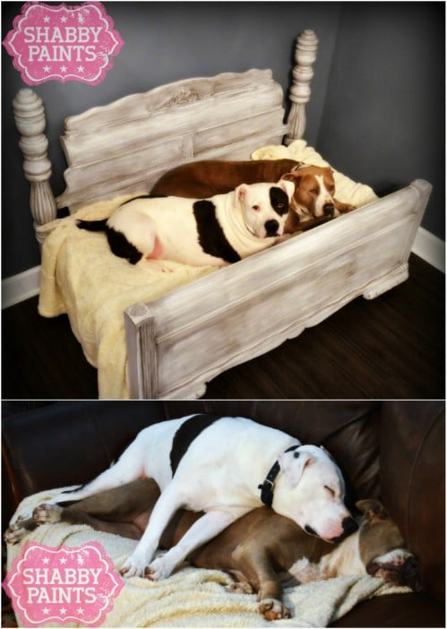 Upcycled Bed Frame Into Pet Bed