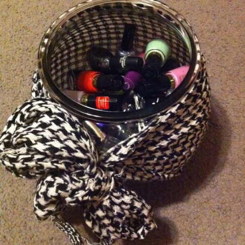 Upcycled Fish Bowl Nail Polish Organizer