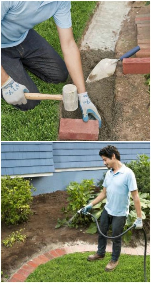 DIY Brick Edging