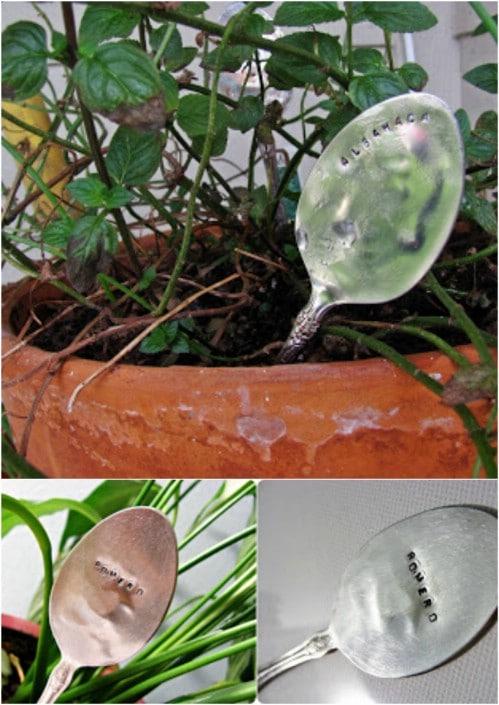 DIY Antique Spoon Plant Markers