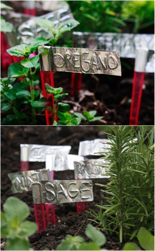 DIY Aluminum Duct Tape Garden Markers