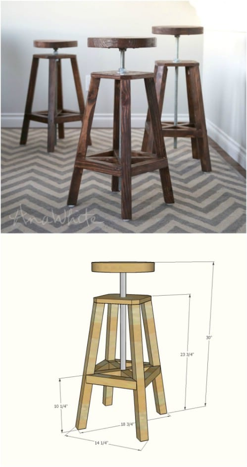DIY Adjustable Height Industrial Barstool Build Your Own Bar Stools B2
