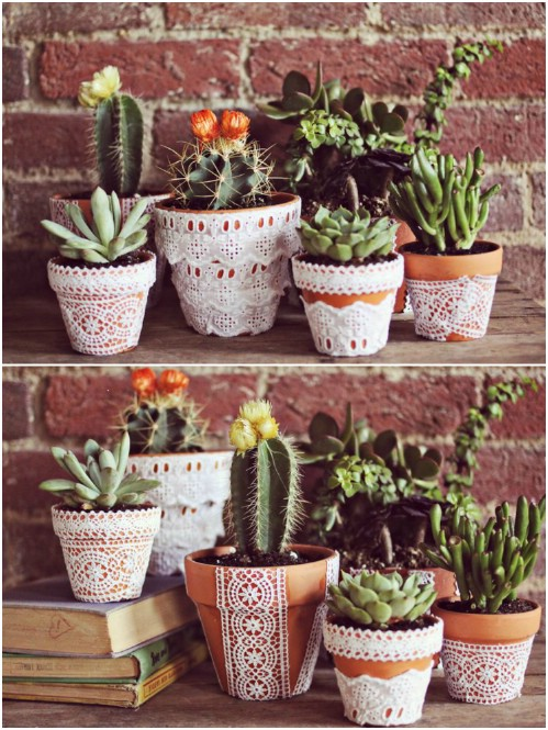 Diy Garden Pots 25 diy garden pots that add decor to your outdoor living spaces diy lace flower pots workwithnaturefo