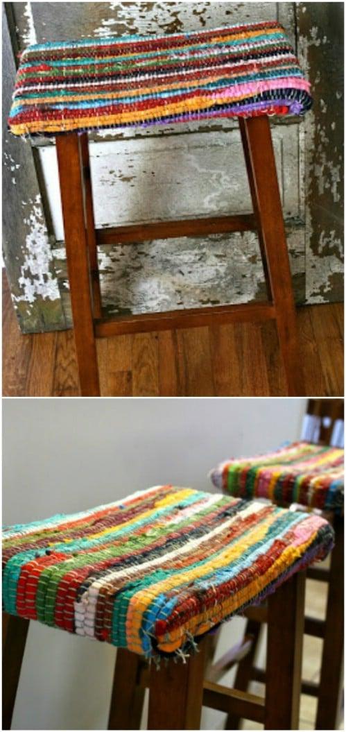 DIY Rag Rug Barstool