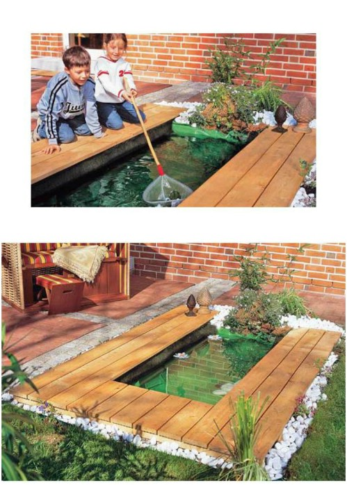 DIY Rectangular Pond With Wooden Deck