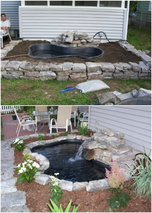 Simple Preformed Garden Pond - 15 Budget Friendly DIY Garden Ponds You Can Make This Weekend - DIY