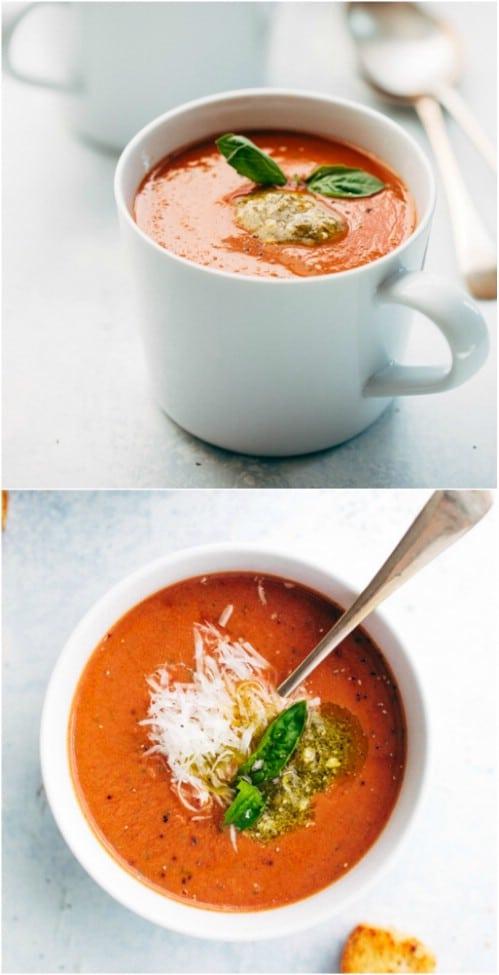 Slow Cooker Parmesan Basil Tomato Soup