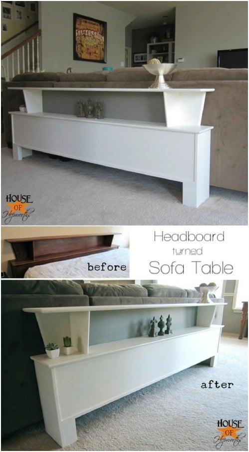 Repurposed Headboard Sofa Table