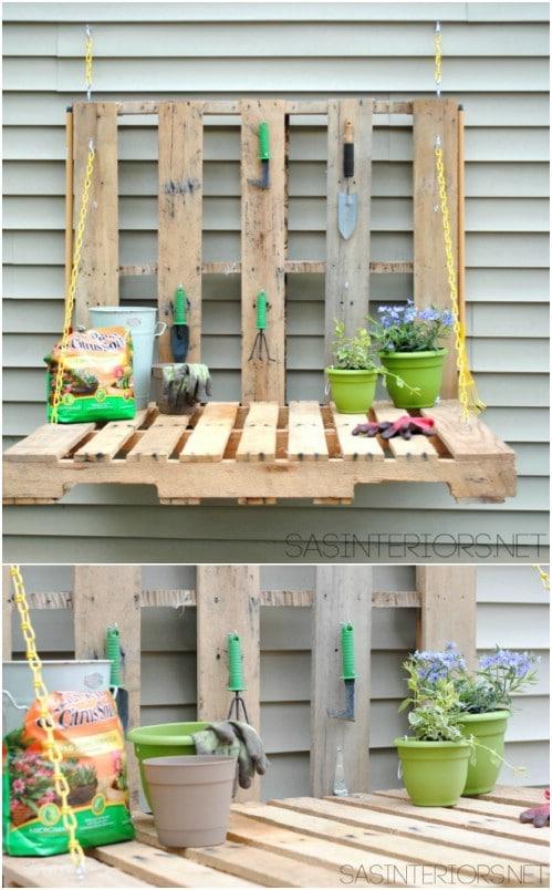 DIY Fold Down Pallet Gardening Table