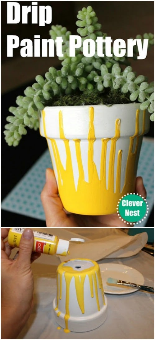 DIY Drip Painted Planters