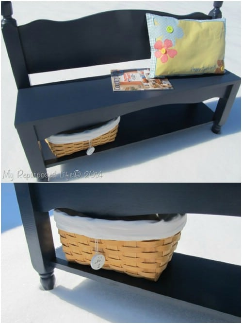 Repurposed Headboard Storage Bench